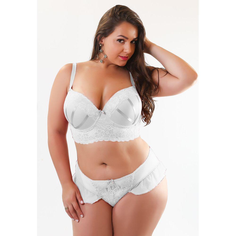 Conjunto Plus Size Sexy Em Tule E Renda O30 - Compra Fcil -2976