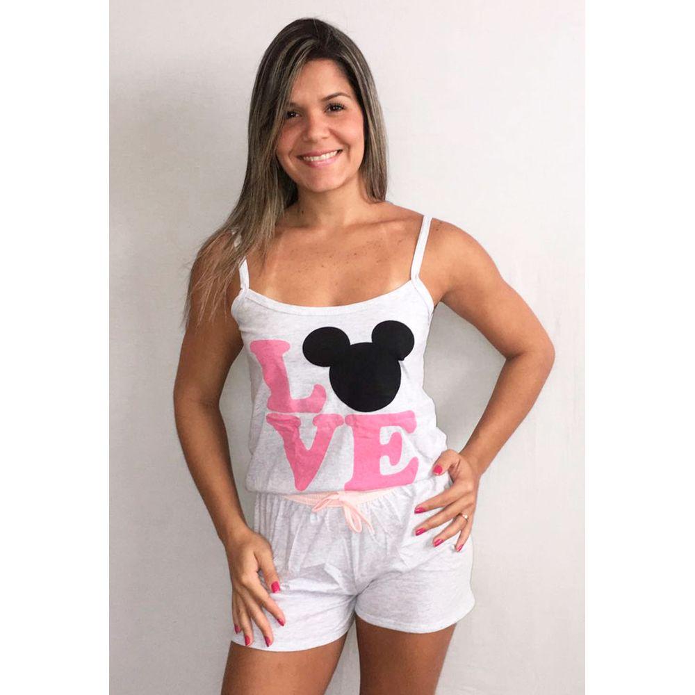 dd225ae0f Baby Doll Alça em Algodão e Estampa Mickey G08 - Compra Fácil Lingerie