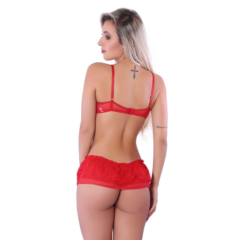 1d84e5c6c Conjunto Sexy em Renda Bordada com Babado H09 - Compra Fácil Lingerie