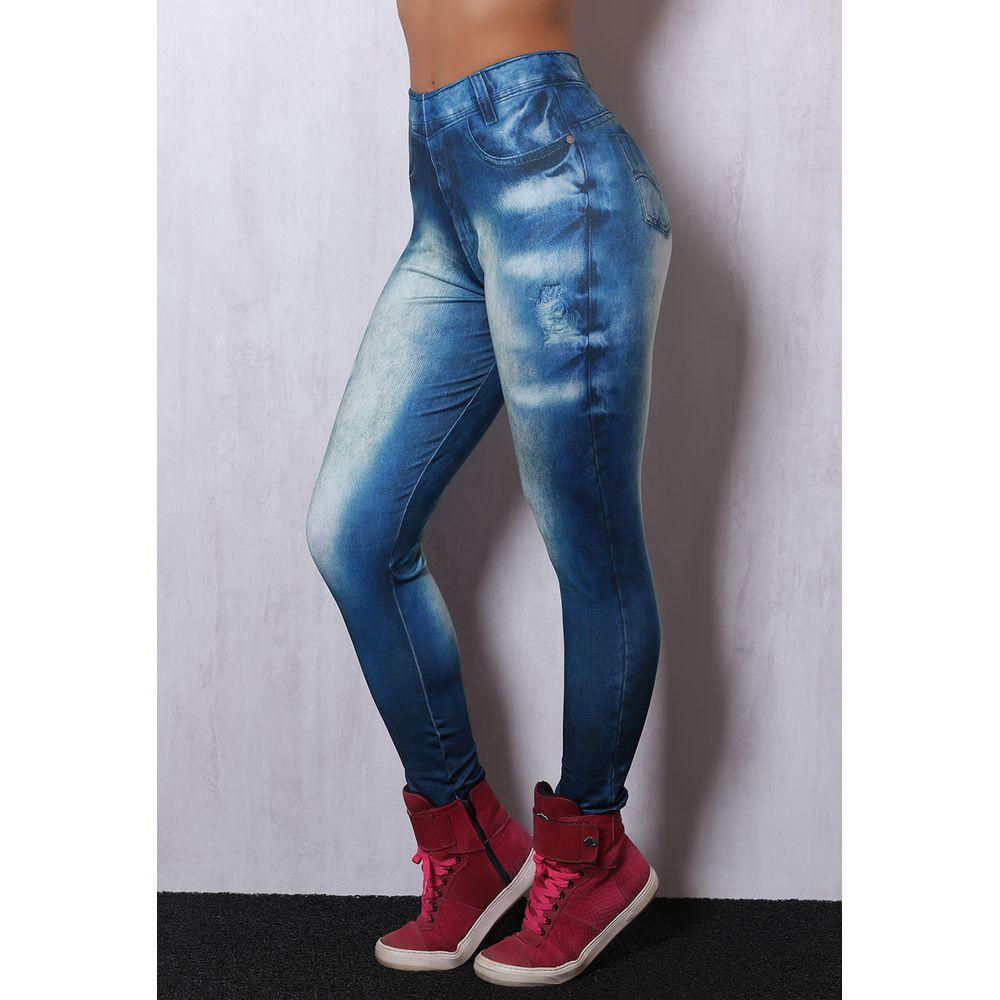 20a616155c Calça Legging Fitness Jeans Fake L92F - Compra Fácil Lingerie