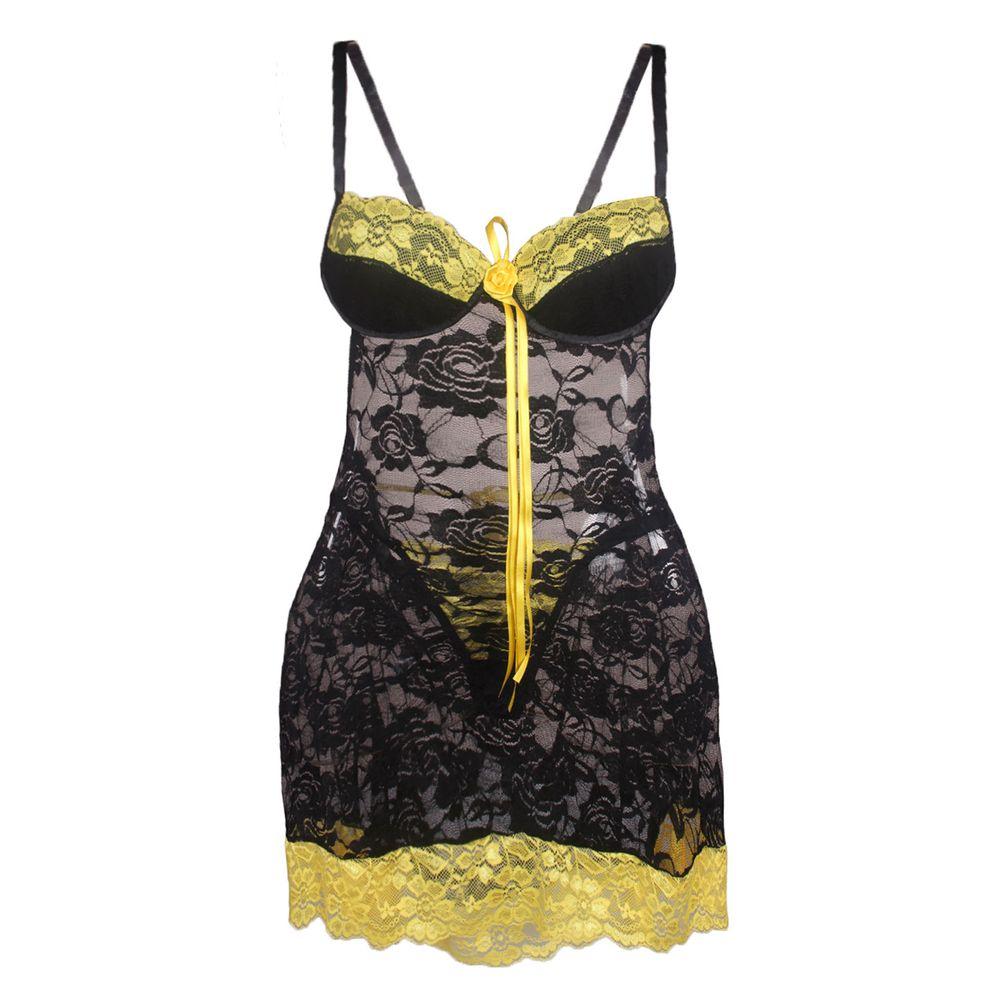 6418fa7c6 Camisola Sexy em Renda Transparente Duas Cores J27 - Preto   Amarelo M