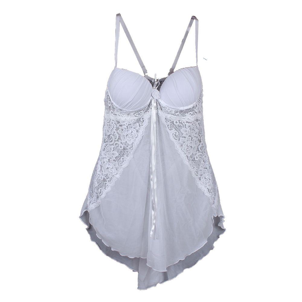 056fd3b36 Camisola Sexy em Tule Liso com Detalhes em Renda Bordada J08 - Branco P