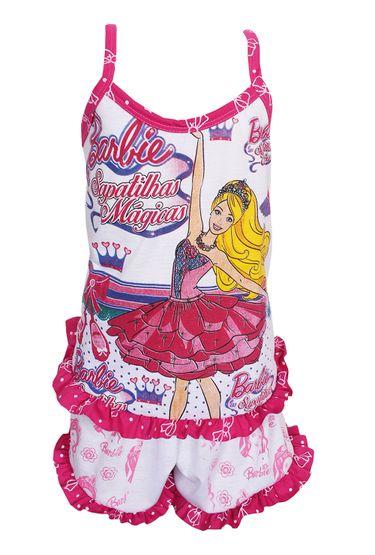 134fab3a9 Baby Dool Infantil em Malha Etampada com Babado P56 - Rosa Escuro Variado 6