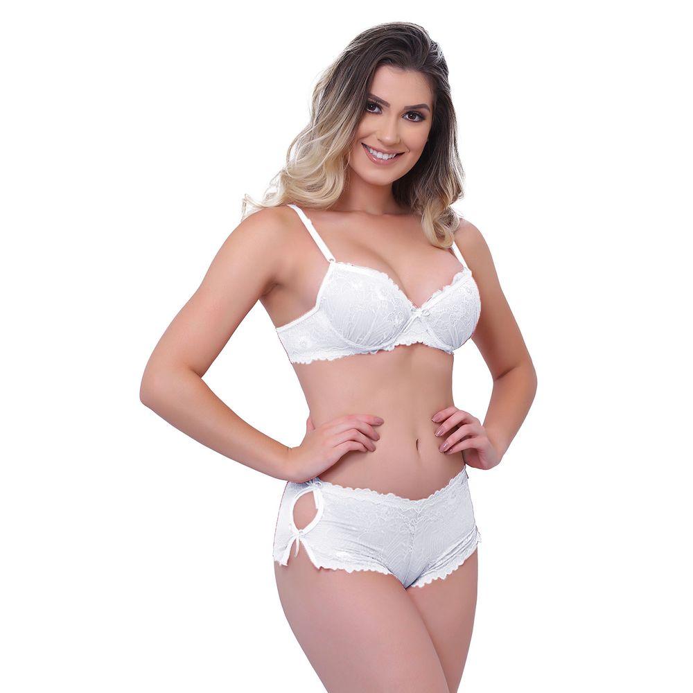 979127ff8 Conjunto Short Calesson em Renda Lisa com detalhe de Lacinho D79 - Branco  38-P